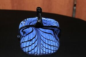 Art Glass Purse Vase Hand Blown Vibrant Blue & Black with Polish