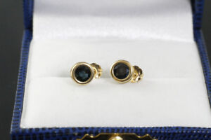 BRAND NEW STAMPED 14K. ITALIAN GOLD BLUE SAPPHIRE STUD EARRINGS