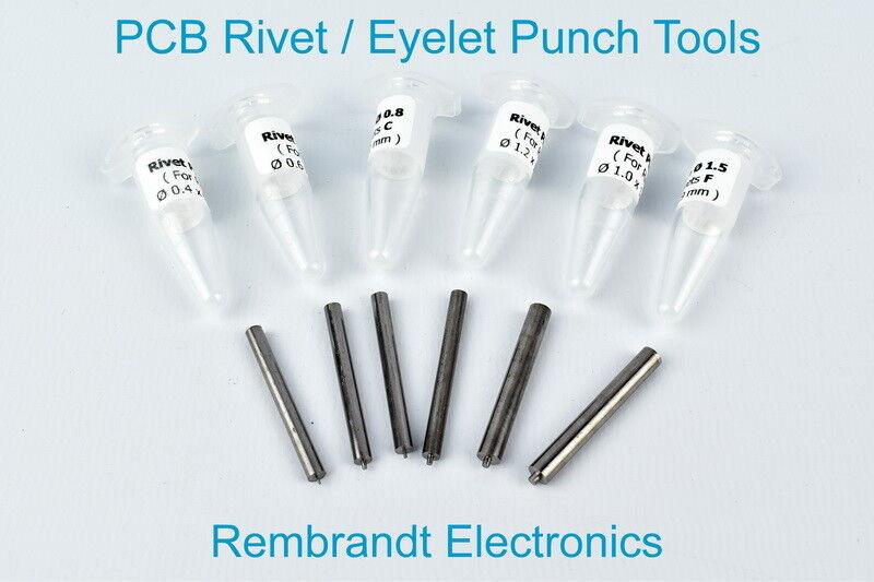 PCB Rivet / Eyelet Punch Tools for Rivets / Eyelets A, B, C, D, E and F (US)