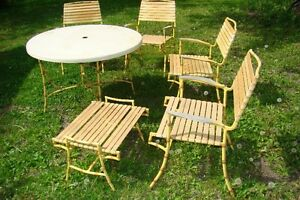 Mid Century Hollywood Regency Bamboo Patio Table & Chair Set Belleville Belleville Area image 4