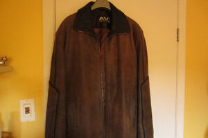 NEW ITALIAN LEATHER JACKET,SIZE ''L'',BROWN,514-996-9207