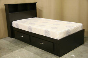 Espresso Twin Size Single Captains Bed with Mattress