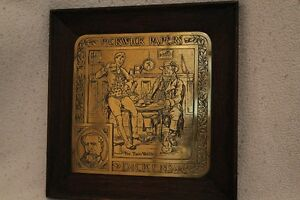 """Vintage framed brass Dickens plaque,Dickens Pickwick Papers"""""""