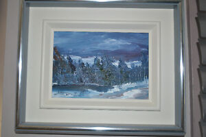 OIL ON CANVAS WINTER SCENE PAINTING SIGNED 9 X 11 INCHES