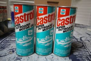 CASTROL SUPER OUTBOARD MOTOR OIL TIN CAN NICE GRAPHICS