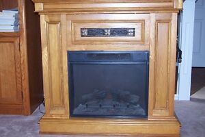 Oak Electric Heater Fireplace with Mantle