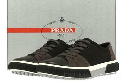NEW PRADA BLACK GRAY CANVAS SUEDE LOGO LACE-UP CASUAL SNEAKER SHOES 7/US 8