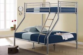 Trio Metal Bunk Bed with Mattress Options - SAME DAY DELIVERY! - ALL OVER LONDON