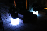 Flower pot stands with LED lights
