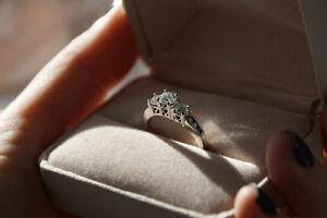 1 CT Diamond Three Stone Engagement Ring, 14K White Gold