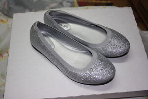 Silver flat sparkley shoes - size 4 girls