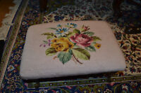Antique Needle Point topped Metal Queen Anne Legs Stool