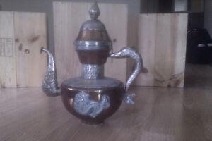TIBETAN COPPER AND SILVER TEA POT