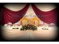 Wedding Reception decoration £4 Chair cover rental 79p Martini vAse hire crockery hire wedding 20p
