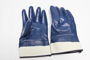 Blue nitrile coated gloves