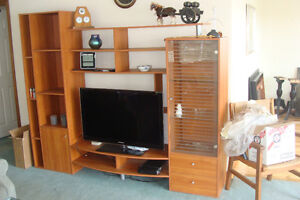 Two dressers, Wood table and chairs, Entertainment Unit.
