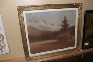 Old Framed Picture of a Cabin - Done In Chalk London Ontario image 1