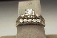 Antique 14K White Gold Diamond Engagement And Band Set