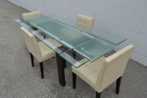 5 PCS MODERN EXTENDABLE GLASS DINING TABLE SET ONLY $599