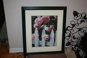 Beautiful Green Wood Framed Print Bird on Fence/Flower Print