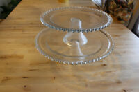 2 beautiful hobnail cake stands.