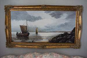 Vintage Oil Painting for Sale by Antal Serences