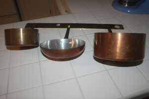 Copper Pots with Brass Hanger Bar (new)