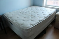 Double bed - mattress, boxspring, and metal frame
