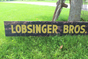 Old Wooden Lobsinger Bros. Ltd. Sign - Thresher London Ontario image 2