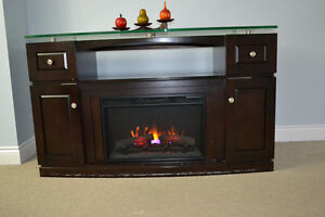 FIREPLACE TV STAND WITH GLASS, DRAWERS AND SHELVES FREE DELIVERY