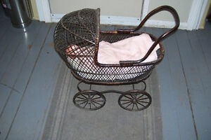 1800s PLASTER DOLL WITH PERIOD WICKER DOLL CARRIAGE London Ontario image 6