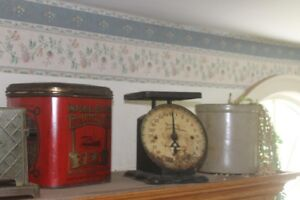 Antique Kitchen Scale, Tins, crocks and other items available