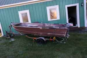 14 ft aluminum boat, motor and trailer
