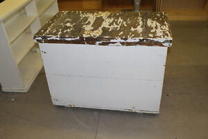 Vintage Large Wooden Box Painted White w. Hinged Lid