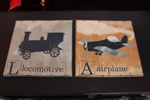 Pottery Barn Kids Airplane and Train Planked Wood Art