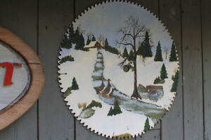 winter scene painted mill saw blade