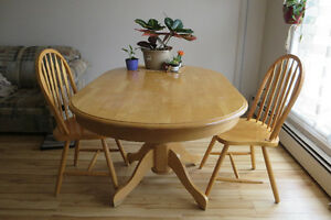 BIG TABLE WITH 2 CHAIRS- hard wood
