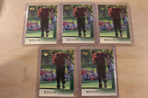 2001 Upper Deck Tiger Woods Rookie Cards (5 card lot)