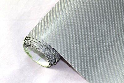 6,2€/m² 4D Carbon Folie - SILBER 300 x 152 cm flexibel Auto Klebe Folie Wrapping