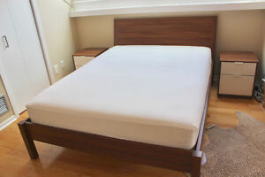 Ikea Queen Nyvoll Bed Frame, Mattress and 2 Nyvoll Nightstands