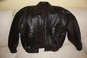 Mens dark brown leather bomber jacket Kitchener / Waterloo Kitchener Area image 1