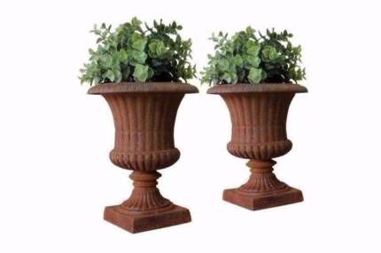 Pair of Small Cast Iron Urns Pots Planter Indoor & Outdoor us