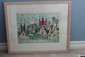 Framed Watercolour print -- Princess, castles, unicorn Kitchener / Waterloo Kitchener Area image 4