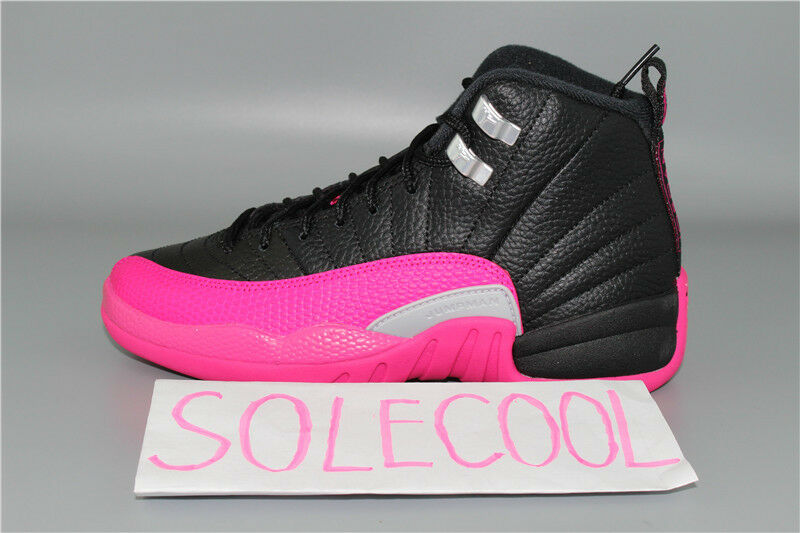 online store b0f8b 6bbe3 SHIP NOW Nike Air Jordan 12 Retro XII GS Black Deadly Pink 510815-026  Size:4-7