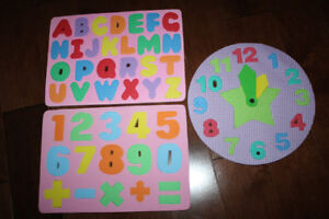 3 Foam Puzzles - Alphabet, Numbers and Clock Set
