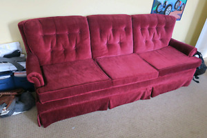 Super cool red velour couch