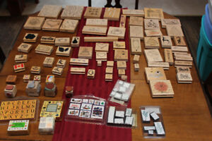 Wood-backed stamps and Scrapbooking supplies.