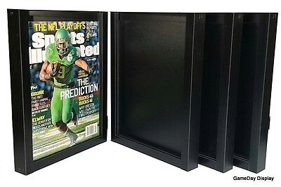 Magazine Sports Illustrated Display Frame Case Black Shadow Box Lot Of 4