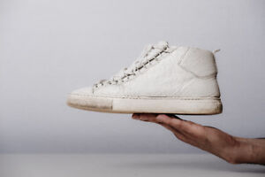 Balenciaga Paris | Arena High-Top Grained Leather White Sneakers