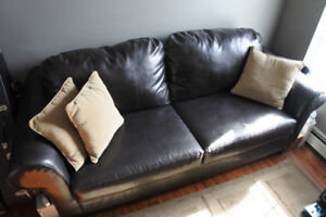 MOVING SALE! Chocolate Brown Leather Couch